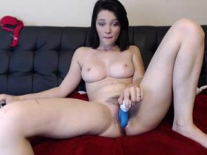 Young Bosomy Cam Babe Plays With Her Hairy Cunt