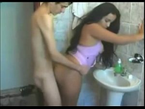 Hot Latina Cam Girl Gets Fucked In The Toilet By A Skinny Boy