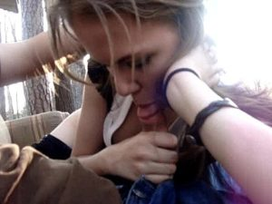 18yo Cam Girl Gives A Blowjob And Eats Cum In The Forest