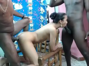 Sex Hungry Latina Girl Having A Fuck With Two Black Men