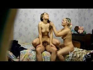 Two Naughty Nymphos Get Banged By A Fat Dude On Sex Cam