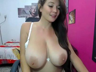 18yo Latina Webcam Teen Alison Rubs Her Big Luscious Breasts