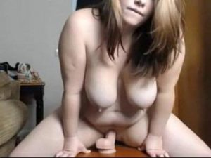 Raunchy Fat Teen Girl Rides A Long Pink Dildo